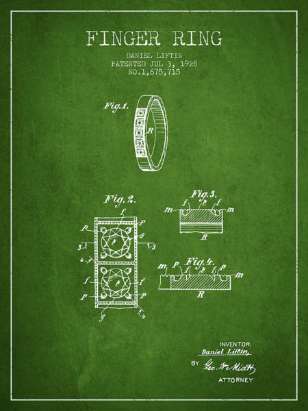 Wall Art - Digital Art - Finger Ring Patent From 1928 - Green by Aged Pixel