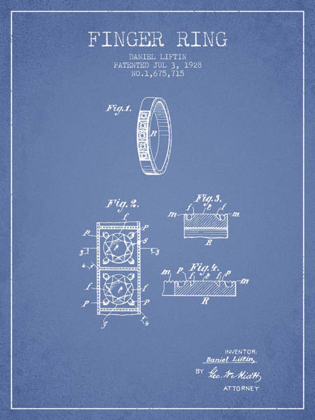 Wall Art - Digital Art - Finger Ring Patent From 1928 - Light Blue by Aged Pixel
