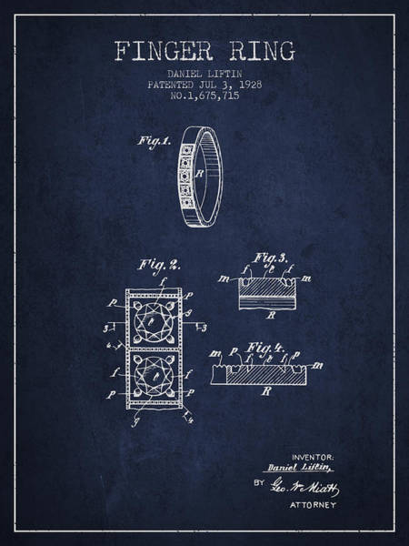 Wall Art - Digital Art - Finger Ring Patent From 1928 - Navy Blue by Aged Pixel