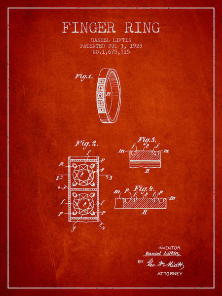 Wall Art - Digital Art - Finger Ring Patent From 1928 - Red by Aged Pixel