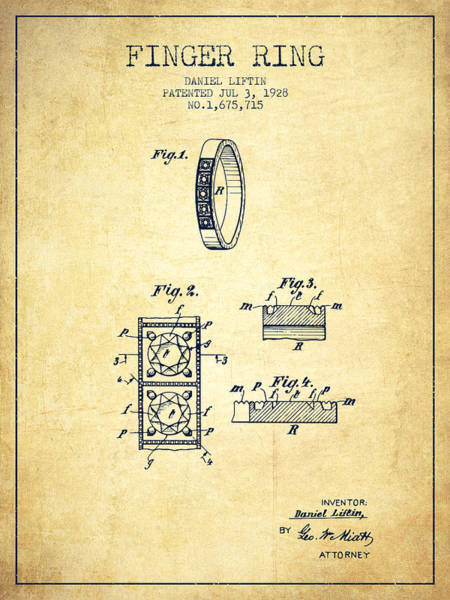 Wall Art - Digital Art - Finger Ring Patent From 1928 - Vintage by Aged Pixel