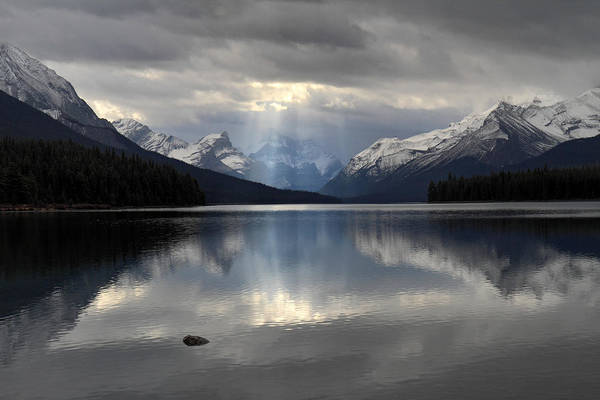 Photograph - Fingers Of God In Maligne Lake  by Pierre Leclerc Photography