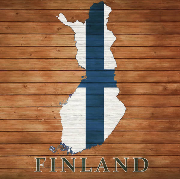 Wall Art - Mixed Media - Finland Rustic Map On Wood by Dan Sproul