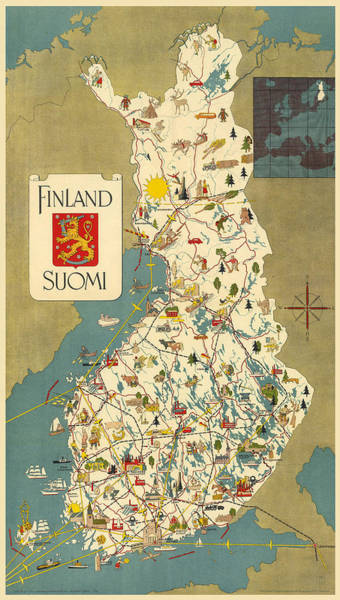 Wall Art - Mixed Media - Finland - Suomi - Vintage Illustrated Map Of Finland - Historical Map - Cartography by Studio Grafiikka