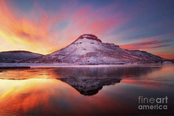 Wall Art - Photograph - Fire And Ice - Flatiron Reservoir, Loveland Colorado by Ronda Kimbrow