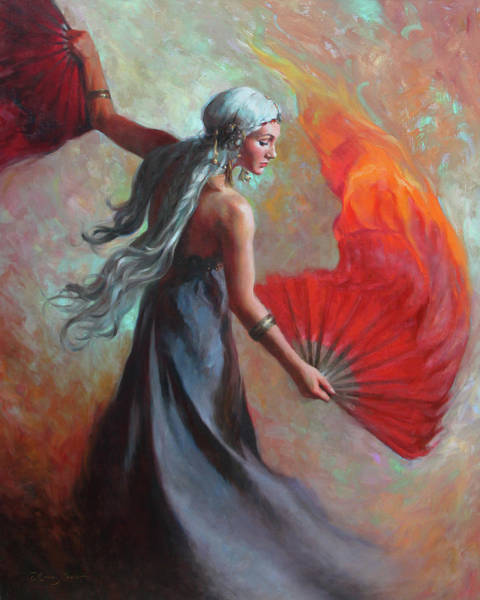 Game Painting - Fire Dance by Anna Rose Bain