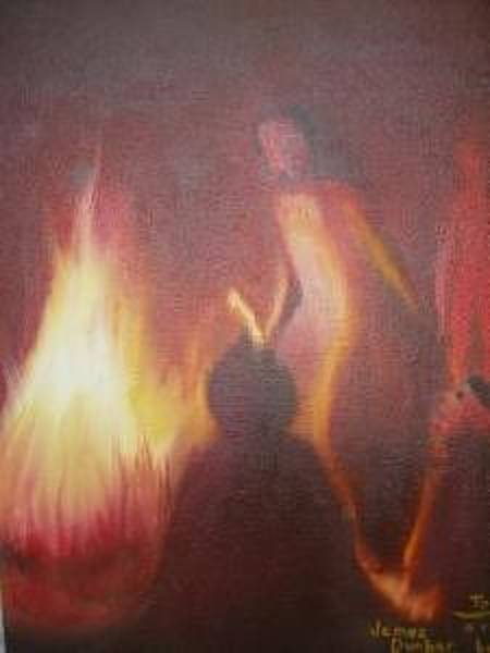 Wall Art - Painting - Fire Dance by Dunbar's Modern Art