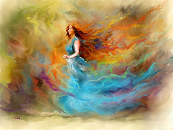 Dancing Digital Art - Fire Dancer by Patricia Lintner