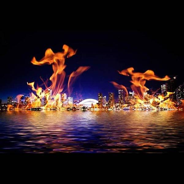 Abstract Skyline Wall Art - Photograph - fire Dancers #abstract #composite by Steve Wilkinson
