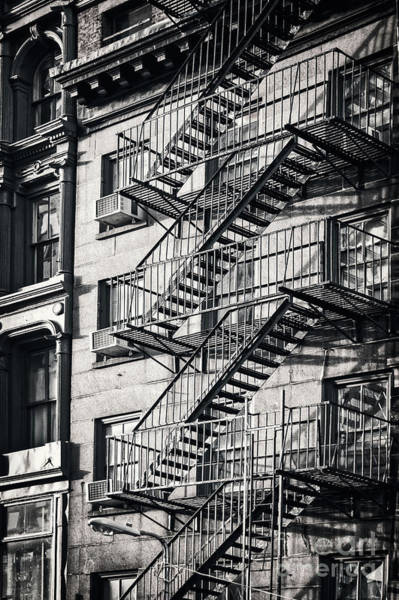 Wall Art - Photograph - Fire Escape Black And White by Delphimages Photo Creations