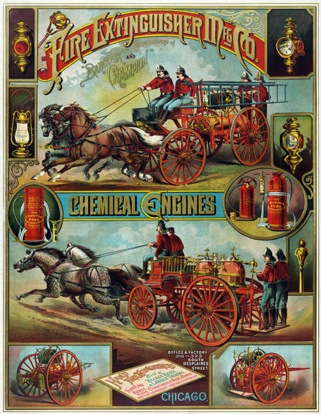 Vintage Fire Truck Painting - Fire Extinguisher Mfg. Co., Advertising Poster, 1890 by Vintage Printery