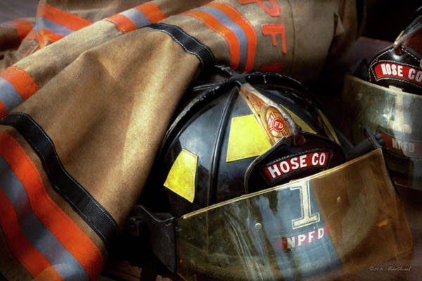 Photograph - Fire Fighter - Hose Company One by Mike Savad