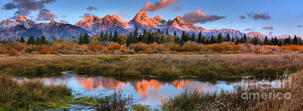 Photograph - Fire From The Teton Tips Panorama by Adam Jewell