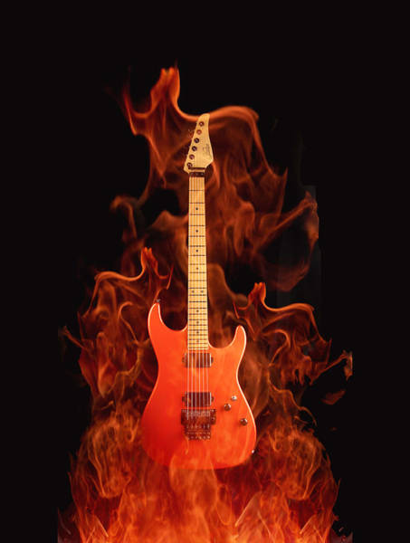 Flammable Wall Art - Digital Art - Fire Guitar by Art Spectrum