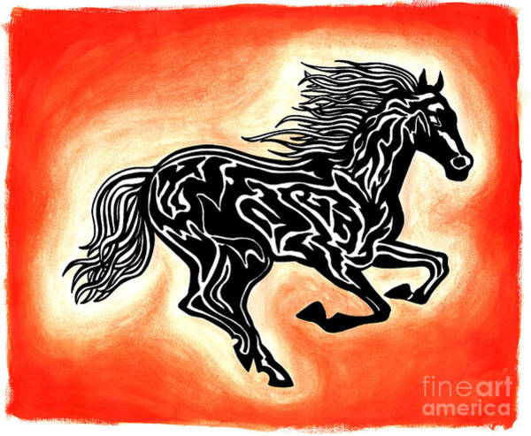 Guache Painting - Fire Horse 1 by Peter Paul Lividini