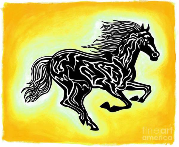Guache Painting - Fire Horse 3 by Peter Paul Lividini