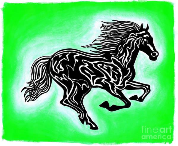 Guache Painting - Fire Horse 4 by Peter Paul Lividini