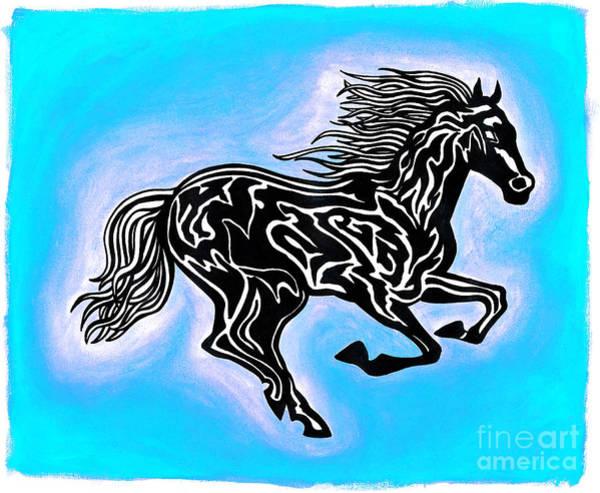 Guache Painting - Fire Horse 5 by Peter Paul Lividini