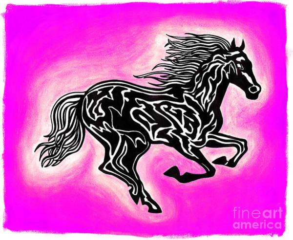 Guache Painting - Fire Horse 6 by Peter Paul Lividini