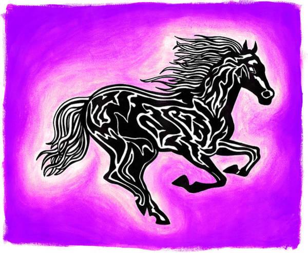 Guache Painting - Fire Horse 7 by Peter Paul Lividini