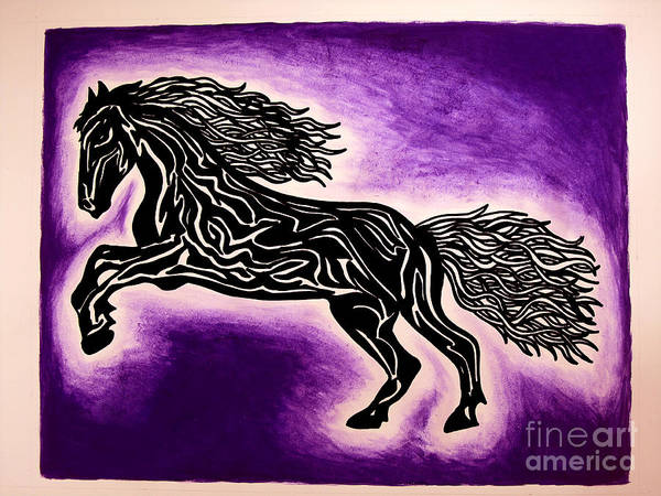 Guache Painting - Fire Horse Blaze 1 by Peter Paul Lividini
