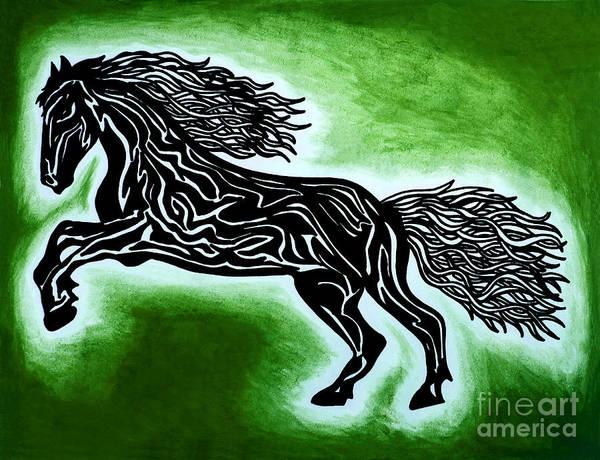 Guache Painting - Fire Horse Blaze 2 by Peter Paul Lividini