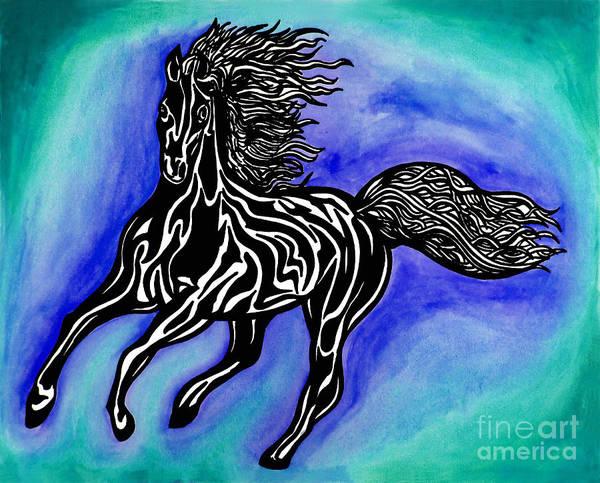 Guache Painting - Fire Horse Burn 1 by Peter Paul Lividini