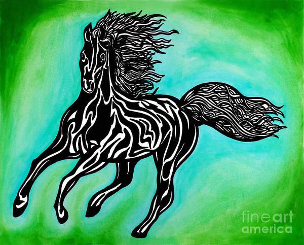 Guache Painting - Fire Horse Burn 2 by Peter Paul Lividini