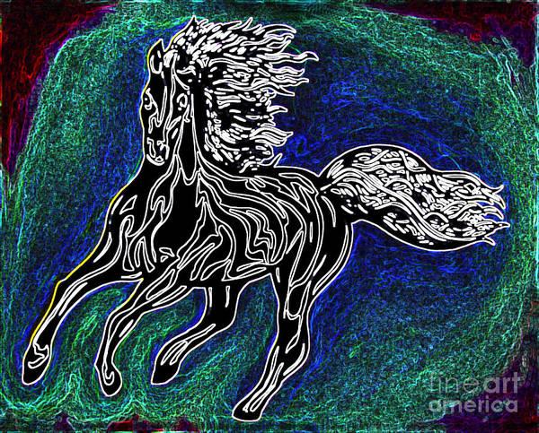 Guache Painting - Fire Horse Burn 3 by Peter Paul Lividini