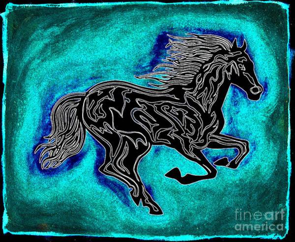 Guache Painting - Fire Horse Neona 1 by Peter Paul Lividini