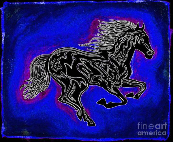 Guache Painting - Fire Horse Neona 2 by Peter Paul Lividini