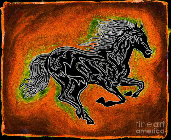 Guache Painting - Fire Horse Neona 4 by Peter Paul Lividini