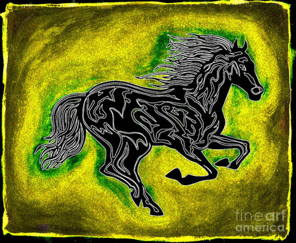 Guache Painting - Fire Horse Neona 5 by Peter Paul Lividini
