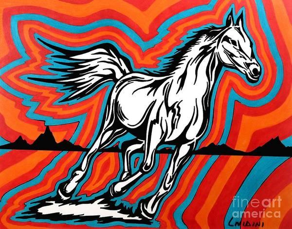 Guache Painting - Fire Horse Zap 1 by Peter Paul Lividini