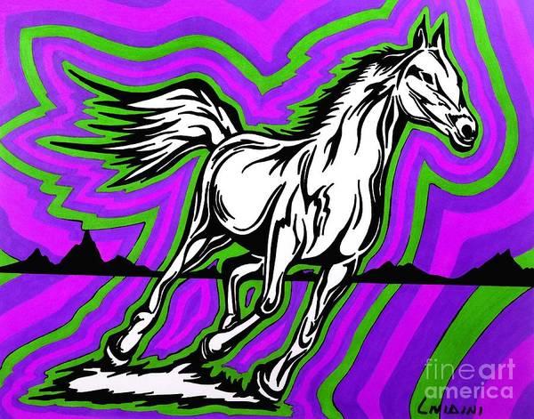 Guache Painting - Fire Horse Zap 2 by Peter Paul Lividini