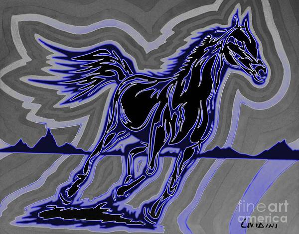 Guache Painting - Fire Horse Zap 4 by Peter Paul Lividini