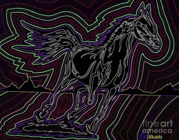 Guache Painting - Fire Horse Zap 5 by Peter Paul Lividini