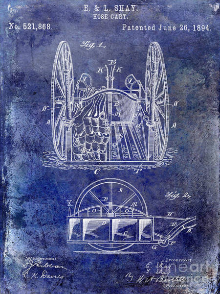 Fire Truck Photograph - Fire Hose Cart Patent Blue by Jon Neidert