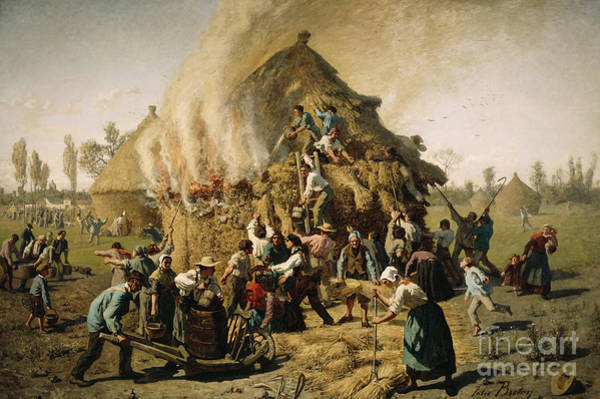 Plowing Painting - Fire In A Haystack, 1856 by Jules Breton