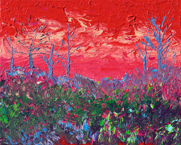 Wall Art - Painting - Fire In The Hills by Donna Blackhall