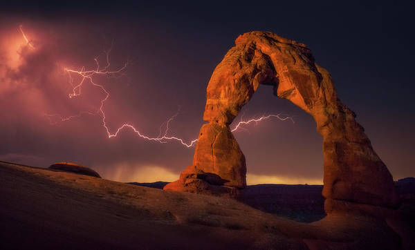 Delicate Arch Wall Art - Photograph - Fire In The Sky by Darren White