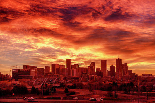 Photograph - Fire In The Sky Over Denver by Teri Virbickis