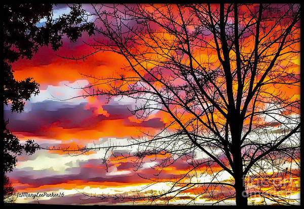 Cloud Cover Mixed Media -  Fire Inthe Sky by MaryLee Parker