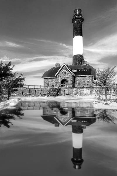 Photograph - Fire Island Lighthouse Bw by Susan Candelario