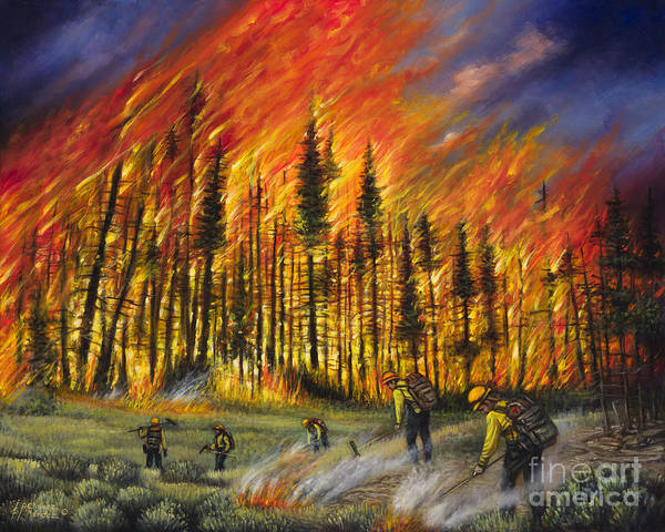 Inferno Painting - Fire Line 1 by Ricardo Chavez-Mendez