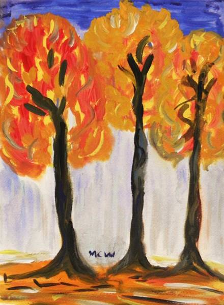 Spontaneous Drawing - Fire Of The Wood by Mary Carol Williams