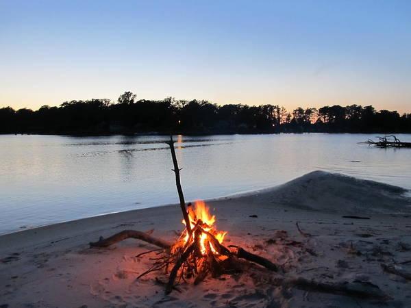 Photograph - Fire On The Beach by Digital Art Cafe