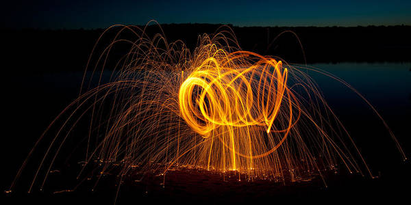 Steel Wool Photograph - Fire On The Lake - Nicks Lake by David Patterson