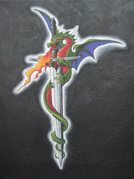 Flaming Sword Painting - Fire Serpent by Leeah Borner