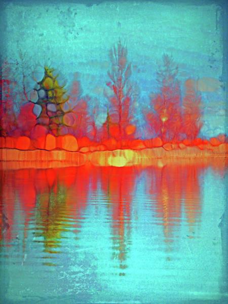 Cheery Digital Art - Fire Trees At The Lake by Tara Turner